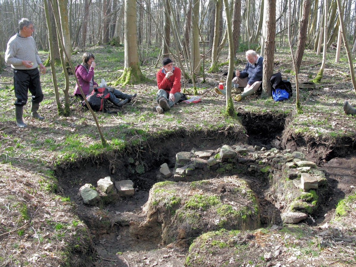 Members of WIRG in Scotts Hollow Wood with partly excavated structure in foreground