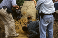 Time Team dig 1998; checking the hearth: photo J. Hodgkinson