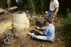 Time Team dig 1998; using hand bellows: photo J. Hodgkinson
