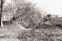 Darwell Furnace, gap in pond bay c.1936: Photo J. Manwaring Baines