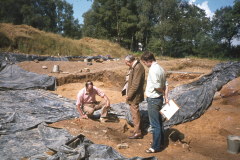 Professor Ronnie Tylecote (centre) visits the site with James Money (left) and Andrew Streeten (right): photo A. Meades