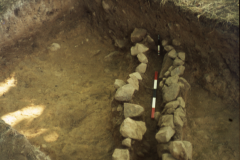 Stone-lined gully: photo A. Meades