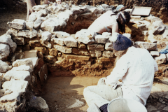 Excavating the cold room (near camera) and cold plunge; photo A. Meades