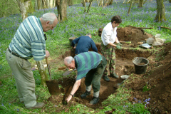 Little Furnace Wood, Apr 2004, Excavating a test trench: photo J. Hodgkinson