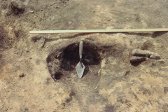 Millbrook Saxon bloomery site, 1980, re-heating hearth 1: photo F. Tebbutt