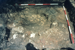Millbrook Saxon bloomery site, 1980, furnace prior to excavation: photo F. Tebbutt