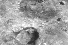 Millbrook Saxon bloomery site, 1980, re-heating hearth, and  furnace before excavation: photo F. Tebbutt
