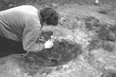 Millbrook Saxon bloomery site, 1980, taking archaeomagnetic samples: photo F. Tebbutt