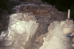 Corner of furnace base during excavation 1989: photo R. Barnes