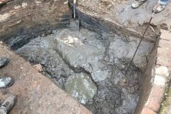 Partial excavation of casting pit, showing brick lining, 2019: photo J. Hodgkinson