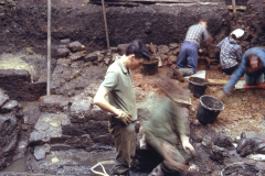 Panningridge: excavating period 1 furnace: photo H. Cleere Aug 1968