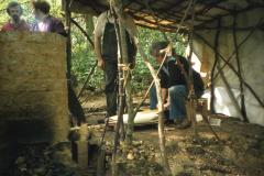 Margaret Tebbutt pumps the bellows: photo D. Meades