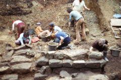 Excavating the surviving furnace structure: photo D. Meades