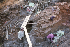 General view of the base of the blowing arch (right) and the wheel pit: photo D. Meades