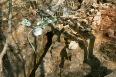 General view of the base of the blowing arch (right) and the wheel pit: photo W. Beswick