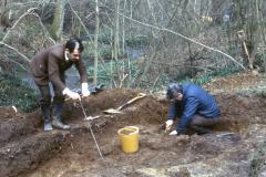 Brian Herbert probing the ground: photo J. Hodgkinson