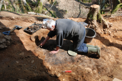 Thorp's Wood, excavating one of the ?smelting hearths: photo J. Hodgkinson