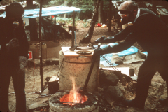 Professor Lechtman and Roger Adams smelting copper: photo anon
