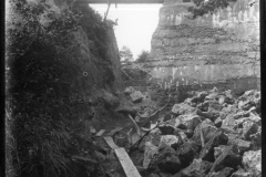 Warren Furnace, Worth, breach at western end of pond bay during restoration c.1919: photo L. Robinson